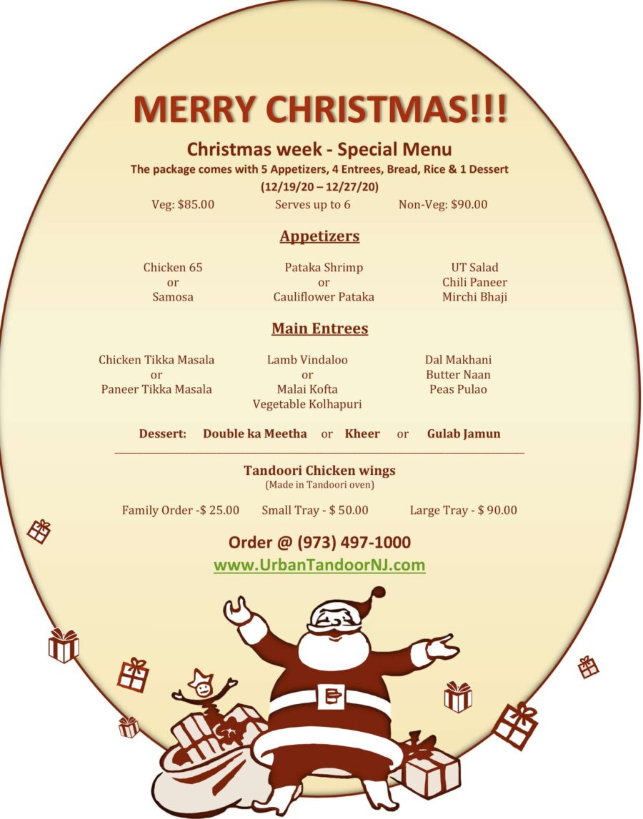 Urban Tandoor Christmas Week Special Menu